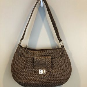 Talbots Brown Woven Shoulder Purse w/ Gold Accents